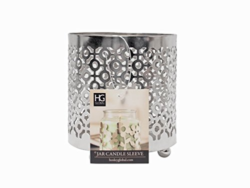 Hosley 4.5 Inch High Geometric LED Pillar Candle or Jar Sleeve Lantern. Ideal Gift Weddings Party Spa Aromatherapy Candle Garden O9 (Holder Candle Sleeve)
