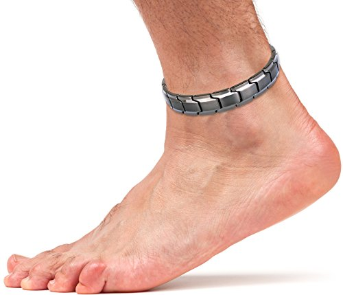 Elegant Titanium Magnetic Therapy Anklet for Men and Women Arthritis Pain Relief & Inflammation Reduction for Feet and Ankles (Gunmetal Gray)