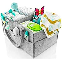 Baby Diaper Caddy Basket, Nursery Storage Bin and Portable Car Stacker Storage Cotton Organiser Bag Felt for Diapers and Wipes