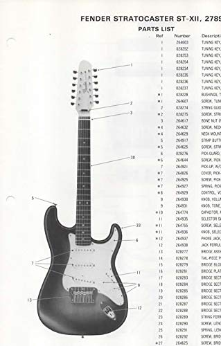 Parts List Diagram for FENDER Stratocaster ST-XII, 12 string Electric Guitar (278900)
