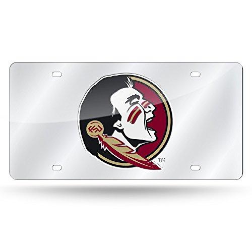 Rico Industries NCAA Florida State Seminoles Laser Inlaid Metal License Plate Tag, Silver (Florida State Seminoles License Plate)