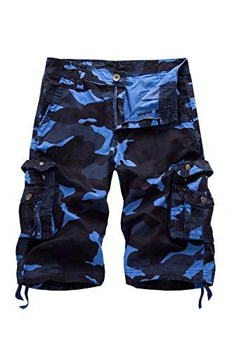 HSRKB Men's Belted Cargo Short Work Shorts for Men (Blue Camouflage, 38) by HSRKB