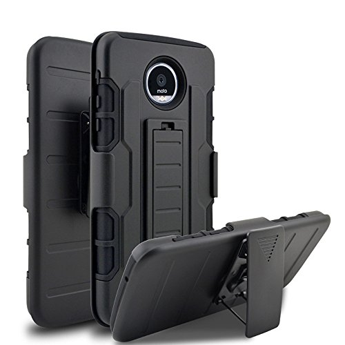 Moto Z Play Droid Case, Telegaming Heavy Duty Hybrid Armor Case Holster With Belt Clip Shockproof Hard Phone Cover Case For Motorola Moto Z Play Black