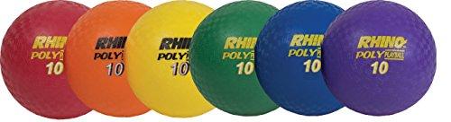 "Champion Sports PX10SET Rhino Playground Ball Set, 10"" Diameter, Rubber, Assorted, 6 Balls/Set (CSIPX10SET)"