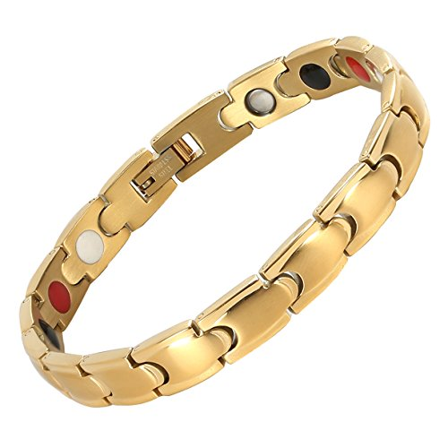 Hammered Diamond Link (Starista Jewelry Titanium Magnetic Therapy Link Bracelet Negative Ion Germanium Power Health Wrist Band (Unisex 4 Element Gold))
