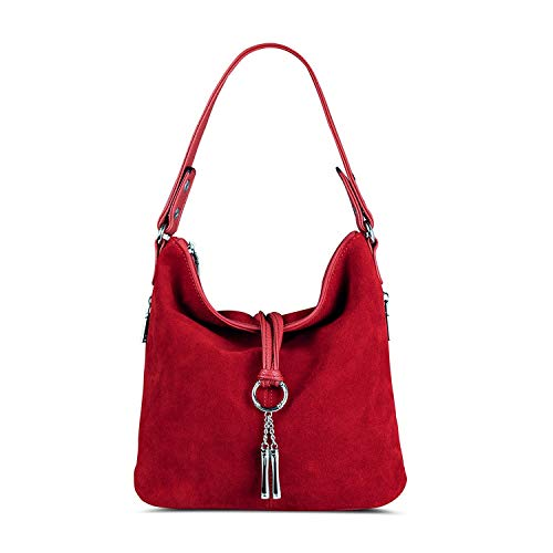 (Fashion Women Split Leather Shoulder Bag Female Suede Casual Crossbody Handbag Lady Messenger Hobo Top-handle)