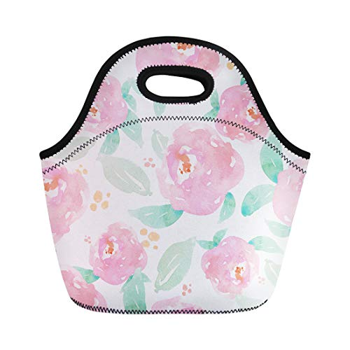 Green Watercolour - Semtomn Lunch Tote Bag Pink Floral Watercolor Flower Pattern Watercolour Green Mint Chic Reusable Neoprene Insulated Thermal Outdoor Picnic Lunchbox for Men Women