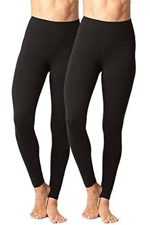 90 Degree By Reflex High Waist Cotton Power Flex Leggings - Tummy Control - Black 2 Pack - XS