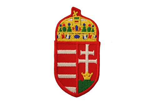 - Hungarian Coat Of Arms Iron on Patch Crest Badge ... 1 3/8 X 2 3/4 Inch ... New