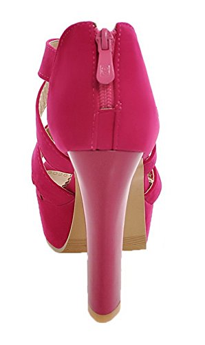 Heels Women's Sandals Frosted Zipper WeenFashion Open Red Solid High Toe n8YRx6wxU