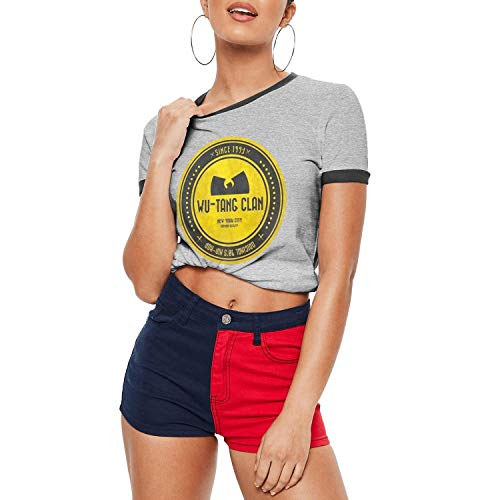 Dmamgk loang Ladies' Fitted Casual O Neck Ringer Tee Shirts