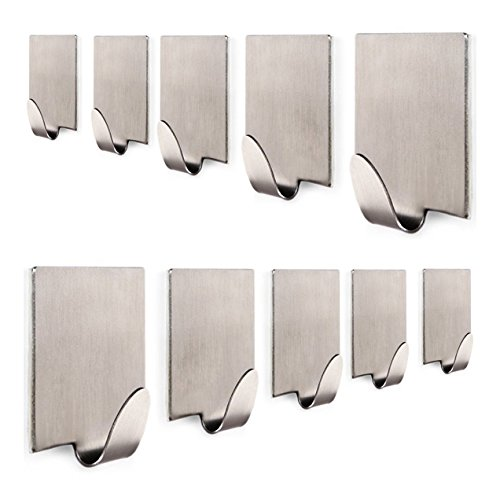 KONE Bathroom 3M Self Adhesive Hook for Towel and Robe, Brushed Stainless Steel, 10 - Pieces