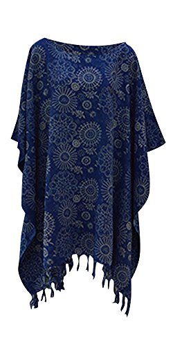 Embun Snowflake Ladies Kaftan Top T-shirt Poncho Hand Made Vibrant Large Womens