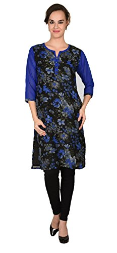 Maple Clothing India Long Tunic Top Georgette Kurti Womens Printed Indian Apparel (Blue, S)
