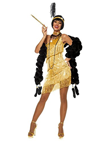 COSTUME DAZZLING FLAPPER - GOLD, Small (Great Gatsby Costumes For Women)