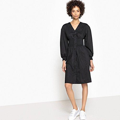 Elastische Kleid Collections La Schwarz Vorne Alinie Knopfverschluss Frau Redoute 4CqCxF5wt0