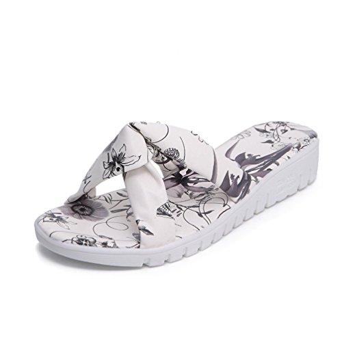 Compensés Chaussures Lanières Noir Mules pour Femmes Sandales Tongs Plage Plates Claquettes Nœud JITIAN 8A6O5c7B