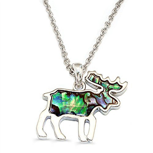 Liav's Moose Charm Pendant Fashionable Necklace / Abalone Paua Shell / 18 Link Style Chain / Unique Gift and Souvenir by Liav's