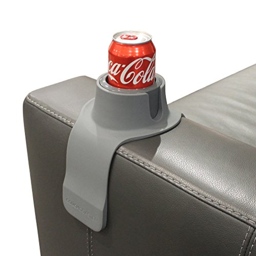 Vinyl Base Sectional Sofa - CouchCoaster - The Ultimate Anti-Spill Cup Holder Drink Coaster for Your Sofa or Couch, Steel Grey