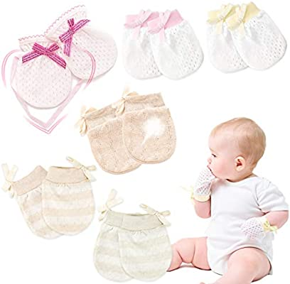 Kalevel 3 Pairs Baby Gloves Newborn Cotton Mittens No Scratch Baby Mittens 0-12 Months Brown Stripe
