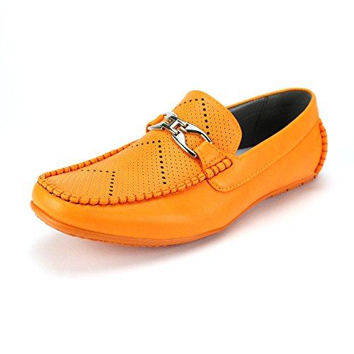 6747 Men's Casuals Perfs Loafer Antonio Ac Moccasin Summer Driving Orange Casual Cerrelli Perforations Comfort Slip on gq5nE