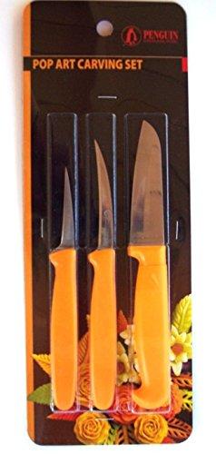 Thai Fruit and Vegetable Carving Knives, Pop Art Carve Knife. Set of 3 by torasia market