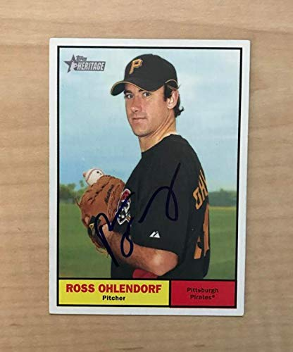 ROSS OHLENDORF PITTSBURGH PIRATES SIGNED 2010 TOPPS HERITAGE CARD #22 W/COA