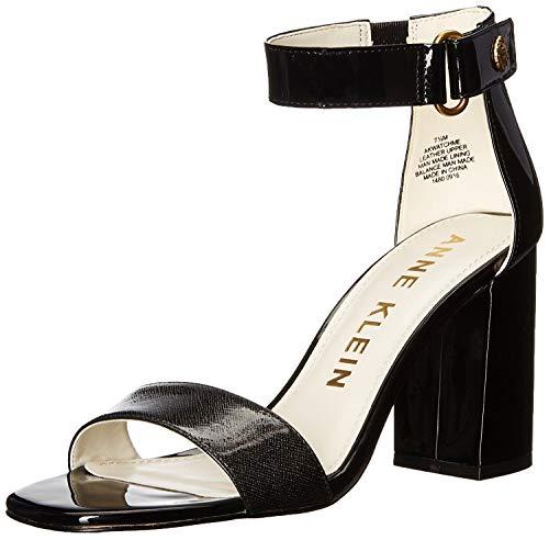 Leather Patent Sandals Klein Anne - Anne Klein Women's Watchme Patent Dress Sandal, Black, 7.5 M US