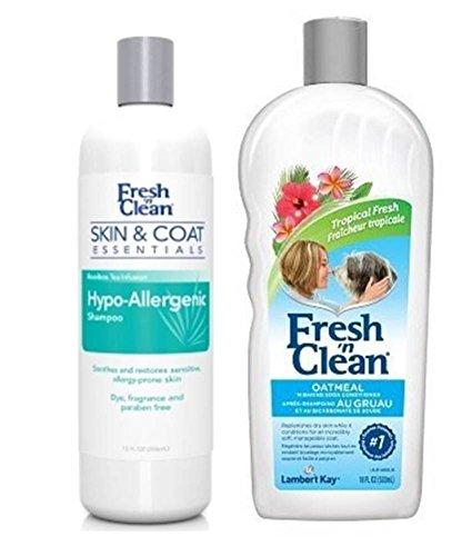 Fresh 'N Clean Shampoo and Conditioner Bundle: (1) Skin & Coat Essentials Hypo-Allergenic Shampoo, and (1) Classic Tropical Fresh Oatmeal 'n Baking Soda Conditioner, 12-18 Oz. Ea. (Kay Oatmeal Lambert)