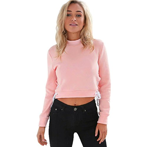 OverDose Damen Pullover Jumper Kapuzen- Sweatshirt Tops Bluse (XL, Rosa)