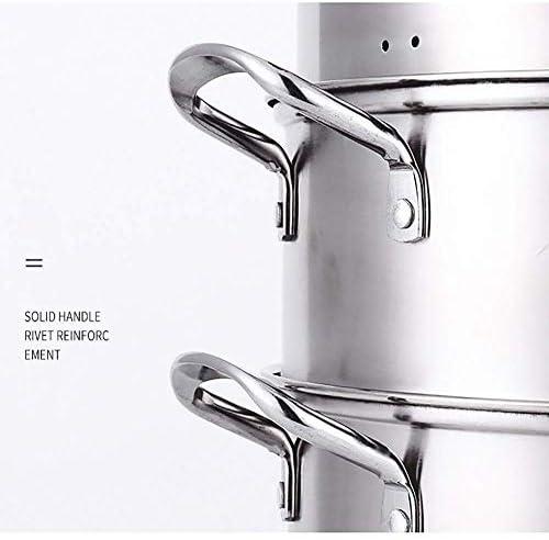 XH&XH Pot à Soupe Vapeur à 2 Niveaux avec Couvercle en Verre et Finition Miroir Poli Acier Inoxydable 28cm 30cm 32cm-30cm