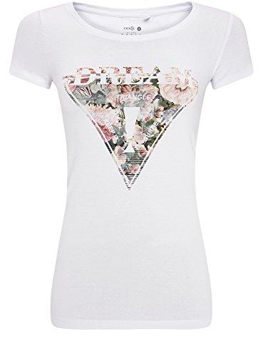 oodji Ultra Mujer Camiseta con Estampado de Flores Triangular Blanco (1040P)