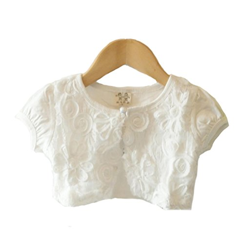 51ced13bca346 Honey baby ガールズ女の子 ボレロ カーディガン 半袖 子供 女の子 用 ホワイト ピンク 薄手 柔らか カーデ 女の子