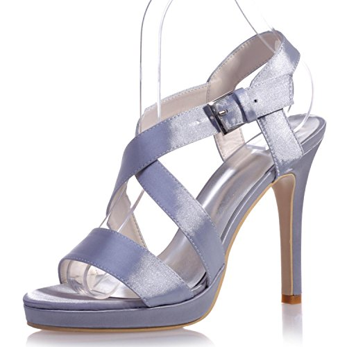 Colors Party amp; 22 Silver L Peep Night a Toe Women'S Variety High 5915 Comfortable Of Comfort YC Casual PU Heels P77qUxREw