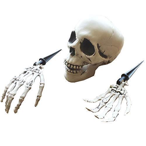 G GIFTOWER Skeleton Lawn Stakes Set Plastic Hands and Skull Haunted House Escape Horror Props Halloween Decorations -