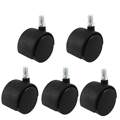 uxcell Office Chair M10 x 15mm Threaded Stem Nylon 2'' Swivel Twin Caster Wheels 5pcs by uxcell (Image #3)