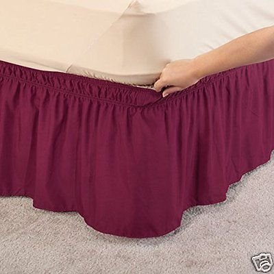WRAP AROUND DUST RUFFLE, COTTON BLEND BED SKIRT, 14 INCH DROP Queen/King -Burgundy