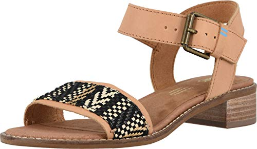 Leather Woven Sandals - TOMS Women's Camilia Honey Leather/Geometirc Woven 5.5 B US