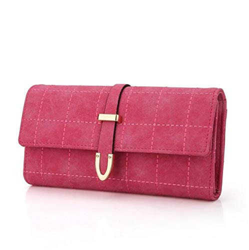 Fashion Wallets Clutch Leather Yasla Women Drawstring Purse Three Long Soft Plaid Roele Fold Nubuck Simple XwBqa