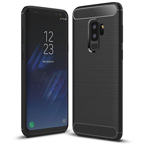 Galaxy S9 Plus Case, HHuiwind Ultra Thin Lightweight Flexible TPU Cover Premium Carbon Fiber Design Hybrid Protective Case for Samsung Galaxy S9 Plus(2018)-Black