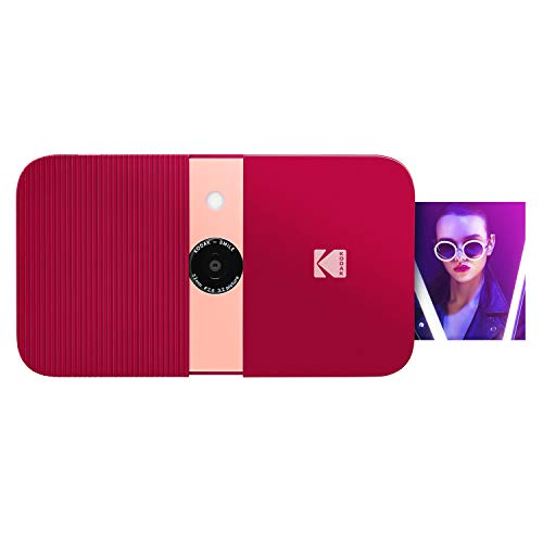 KODAK Smile Instant Print Digital Camera – Slide-Open 10MP Camera w/2×3 ZINK Paper, Screen, Fixed Focus, Auto Flash & Photo Editing – Red