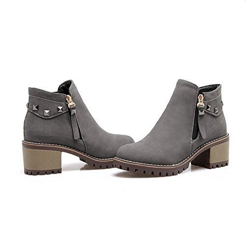 BalaMasa Womens Kitten-Heels Zipper Platform Solid Studded Urethane Boots ABL09708 Gray CCOGGd