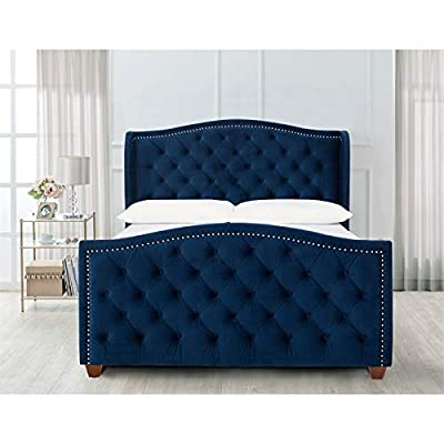 Brika Home Tufted Wingback Queen Bed in Navy Blue