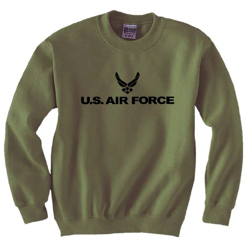 Air Force - Military Style Crewneck Sweatshirt in Military Green - - Force Sweatshirt Air Crewneck