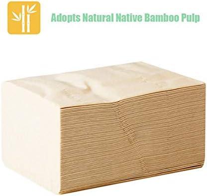 LiQinKeJi8 8 Packungen Bambus-Zellstoff-Gesichtstücher, umweltfreundlich, recyceltes Papier, für Zuhause, Esszimmer, Küche 8 Packungen