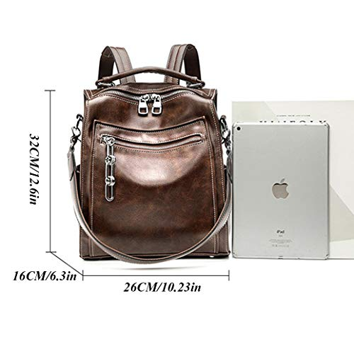 JL-GROUP Backpack Purse for Women, Genuine Leather Rucksack, Casual Daypack Fashion Convertible 2 Ways Shoulder Bag