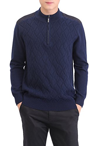 METERDE Men's Knitwear Half Zip Business Casual Cashmere Pullover Sweater M by Cashmere DX