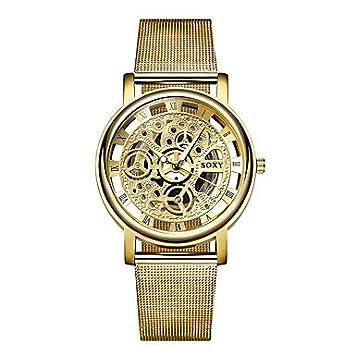 Relojes de moda SOXY Moda Hombre Vestido de Negocios Reloj Hueco Grabado Aleación Azul Ray Cristal
