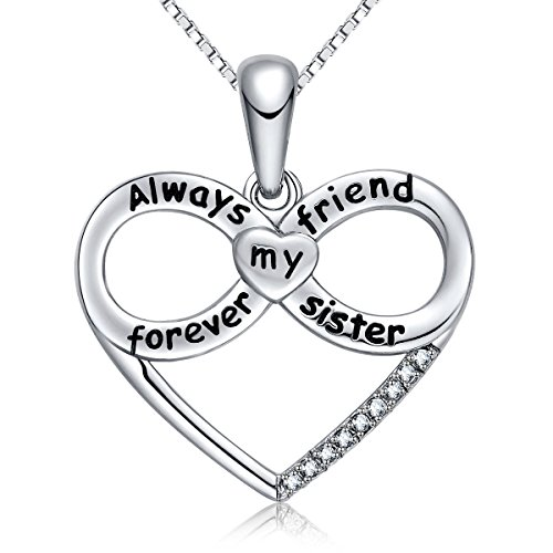 FANCYCD Always My Sister Forever My Friend Love Heart Necklace, 18