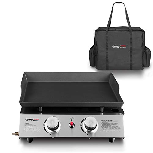 Royal Gourmet Portable Gas Griddle, Table Top Grill, 2 Burner, Propane, Outdoor Cooking for Camping, Picnic, or Tailgating ( Griddle + Carry Bag)